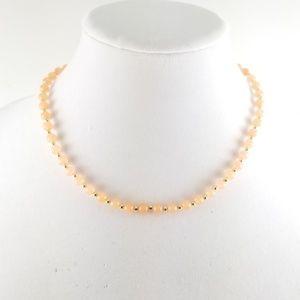 "18"" Melon Jade Bead Necklace 14k Gold"